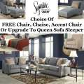 Choice Of FREE Chair, Chaise, Accent Chair Or Upgrade To QnSleeper W/13PC Combo In Lagoon Upholstery