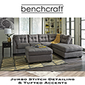 Contemporary Plush Charcoal Sectional + Ottoman with Jumbo Stitching and Tufted Accents