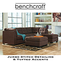 Jumbo Stitching & Tufted Accents Sectional + Ottoman in a Walnut Upholstery