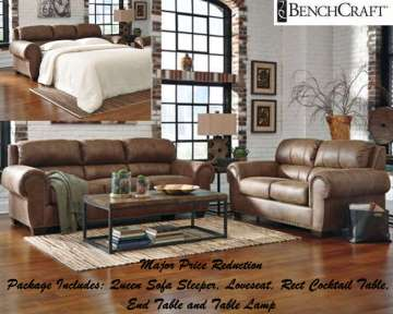 Stylish Design 5PC Package Featuring Sofa Sleeper in  Espresso Upholstery & Jumbo Stitching