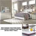 Modern Champagne Textured Design 8PC Bedroom with Free Lamps & Firm or Plush 13