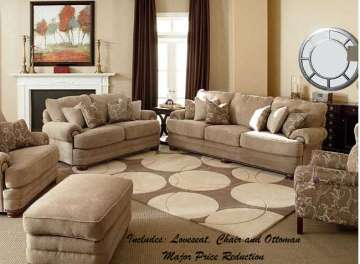 Lane Stanton Stationary Loveseat, Chair and Ottoman with Nailhead Trim - Major Price Reduction