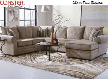 Ultra Soft Chenille Upholstered Sectional in Herringbone Featuring Deep Seating & Chaise Lounger