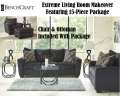 Extreme Living Room Makeover Featuring 14C Pkg Complete W/Plush Slate Pillow Back & Seat Cushions