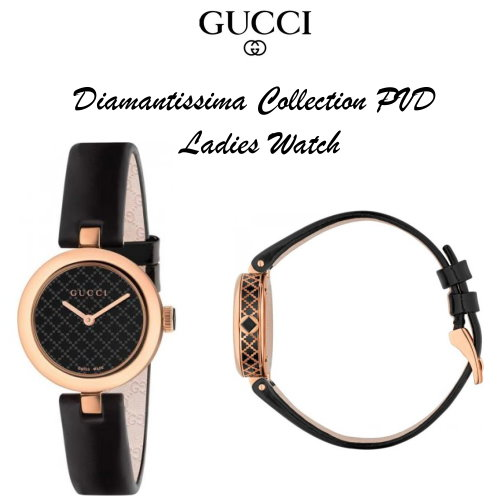8b4e5ed93d8 Gucci Diamantissima Collection Pink Gold PVD Ladies Watch