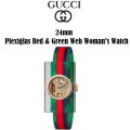 Gucci 24 mm Plexiglas Red-Green Web Women's Watch