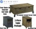 Hammary 2PC Table Bundle Featuring Rectangular Storage Cocktail Table & USB Port On Chairside Table