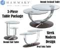 Sleek Modern 3PC Table Bundle W/Walnut Veneers/Stainless Steel Glass Top Cocktail, End & Sofa Table