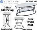 Bronze With Silver Undertones In Metal With White Marble Finish 3-Piece Table Package