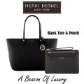Henri Bendel Leather West 57th E/W Tote  & Kangaroo Pouch - Available In Black