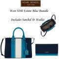 Henri Bendel West 57th Estate Blue Bundle- Includes Satchel And Wallet