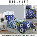 Soccer Blue Youth Reversible Collection 3-Piece Twin Comforter Bedding Set
