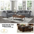 Mid Century Velvet Gray 3-PC Package Complementing Your Modern Design