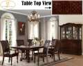 Brown Cherry Finish Double Pedestal Table Featuring Carved Moldings & Dark Brown Faux Leather Chairs