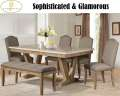 6PC Dining Set W/Faux Marble Top, Brown Upholstered Seats W/Nail Heads & WeatheredWood Finished Legs