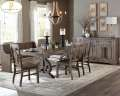 French Country 6PC Dining Set W/Scrolled Base, Dark Pewter Metal Trestle & Wire Brushed Distressing