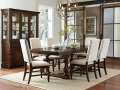 Country Style Design; Modern Twist  Burnished Dark Oak Table Top & Neutral Fabric Covered Chairs