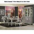 Modern Glamour 7-PC Set w/Eye Catching Silver Finish with Dark Gray Constrasting Upholstered Chairs