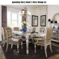 Sparkling Silver Finish 7-PC Dining Set w/Mirrored Table Apron & Pearl Colored Faux Leather Chairs