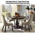 "Clean Design 48"" Round Pedestal Table; a Distressed Dark Brownish Gray Finish w/Soft Gray Chairs"