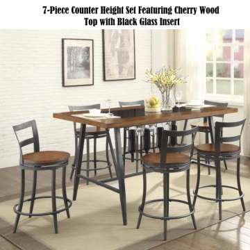 Casual Contemporary Design 7PC Counter Height Set Featuring Cherry Wod Top with Black Glass Inserts