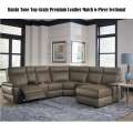 Raisin Tone Top Grain Leather Match 6-Piece Sectional Featuring Power Recliner & Ride Side Chaise