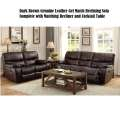 Dark Brown Genuine Leather Gel Match Reclining Sofa Complete with Matching Recliner & Cocktail Table