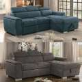 Taupe or Blue Sectional with Pull Out Bed & Hidden Storage