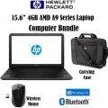 "HP 15.6"" 4GB A9 AMD Series Laptop Bundle, Includes HP Wireless Mouse And Carrying Case"