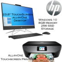 "HP 23.8"" Touch-Screen All-In-One Desktop w/AMD Ryzen 3-Series Plus Envy Wireless All-In-One Printer"