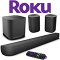 Roku Surround Sound Package with Smart Soundbar, Wireless Subwoofer & 2-Wireless Rear Speakers
