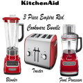 KitchenAid 3 Piece Empire Red Houseware Set, With Blender, Food Processor & Toaster