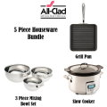 All-Clad 5PC Houseware Set, Includes 4QT Slow Cooker, 3PC Mixing Bowl, & Nonstick Griddle Pan