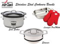 All-Clad Stainless Steel Cookware Bundle With Lasagna Pan, Slow Cooker & Steamer