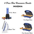 Insignia 4 Piece Blue Houseware Bundle W/ Waffle & Sandwich Maker, Blender and Steam Iron