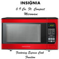 Insignia Red 0.9 Cu. Ft. Compact Microwave Featuring Express Cook Function
