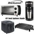 Brentwood 4PC Package W/ Coffee Maker, Elec. Grill, Deep Fryer & Toaster Oven Broiler