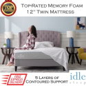 "The Idle 12"" Memory Foam Twin Mattress with Adaptive Gel-Fused Layers In Medium Firmness"