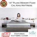 "Idle 14"" Plush Memory Gel Foam Cal King Mattress with Ice Fabric�️ Cover in Medium Soft"