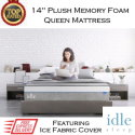 "Idle 14"" Plush Memory Gel Foam Queen Mattress with Ice Fabric�️ Cover in Medium Soft"