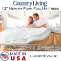 """Country Living 12"""" Memory Foam Full Mattress with Copper & Gel Infused Foam � Available in Med. Firm"""