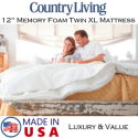 """CountryLiving 12"""" Memory Foam Twin XL Mattress with Copper & Gel Infused Foam�Available in Med. Firm"""