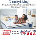 """Country Living 14"""" Hybrid Memory Foam King Mattress � Available in 3 Choices of Firmness"""