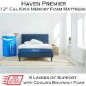 """Haven Premier 12"""" Memory Gel Foam Cal King Mattress with TrueCloud Cooling Foam�"""