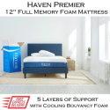 """Haven Premier 12"""" Memory Gel Foam Full Mattress with TrueCloud Cooling Foam�"""