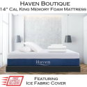 """Haven Boutique 14"""" Memory Gel Infused Foam Cal King Mattress with Ice Fabric� Cover in Medium Soft"""