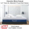 """Haven Boutique 14"""" Memory Gel Infused Foam Twin XL Mattress with Ice Fabric� Cover in Medium Soft"""