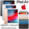 "Apple 10.5"" iPad Air 64GB with Wifi + Cellular Bundled W/Apple Pencil, Smart Cover & AppleCare+ Plan"