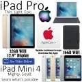 Apple 32GB iPadPro 12.9� & 16GB Mini 4 Both W/WiFi + Smart Keyboard, Mini Case & AppleCare+ For Both