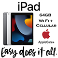 Apple 64GB iPad With WiFi + Cellular (Latest Model) & AppleCare+ Protection Plan